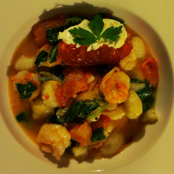 Enjoy roasted tomato & goat cheese gnocchi, freshwater shrimp, some great simple sauce, spinach, shallot, goodness.... #pasta #food #foodporn #instagood #Chef #RemarkableCuisine