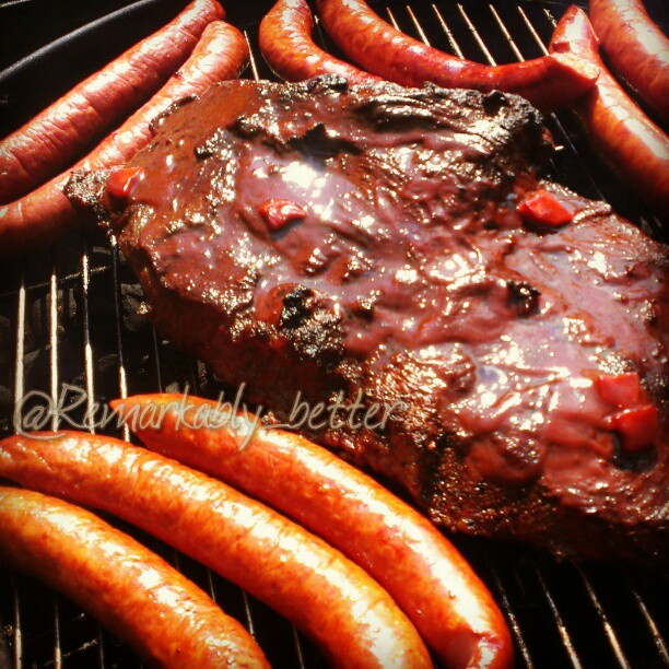 Throwback #food Thursday: Ode to the days it was warm. Slow BBQ brisket with his gang of kielbasa. I think all grills just groaned & tried to shed their covers... #meat #food  #foodporn #instagood #RemarkableCuisine